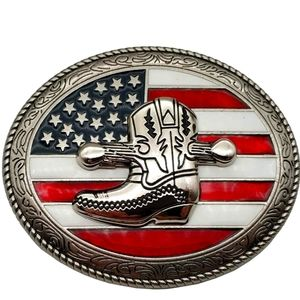 American flag cowboy boot belt buckle